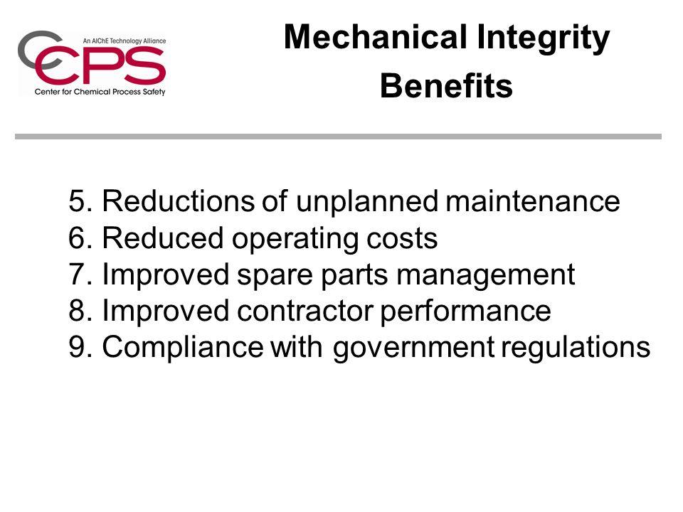 Mechanical Integrity Benefits