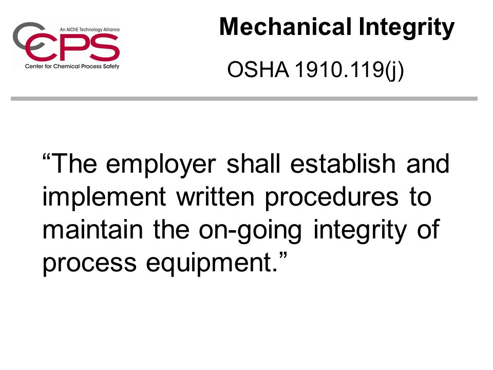 Mechanical Integrity OSHA 1910.119(j)