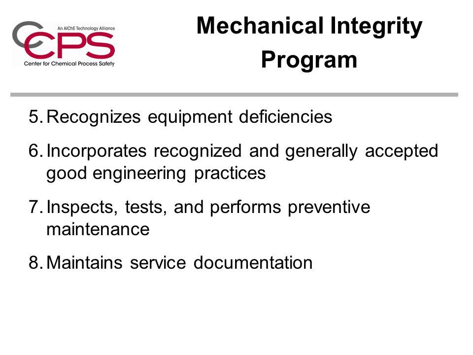 Mechanical Integrity Program