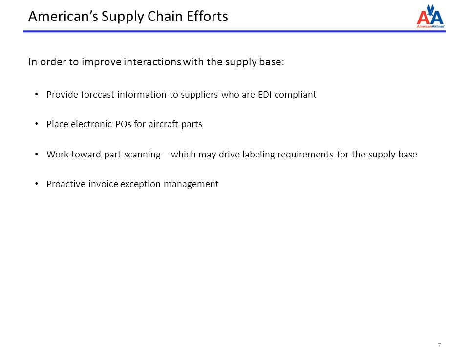 American's Supply Chain Efforts