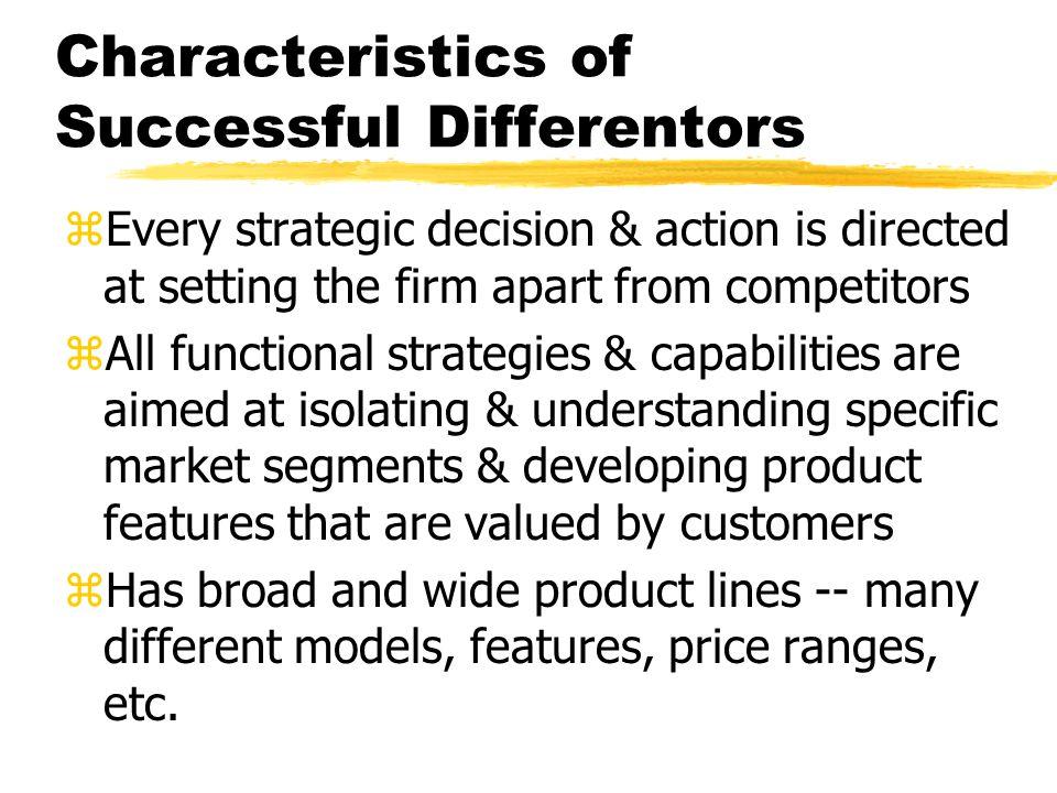 Characteristics of Successful Differentors