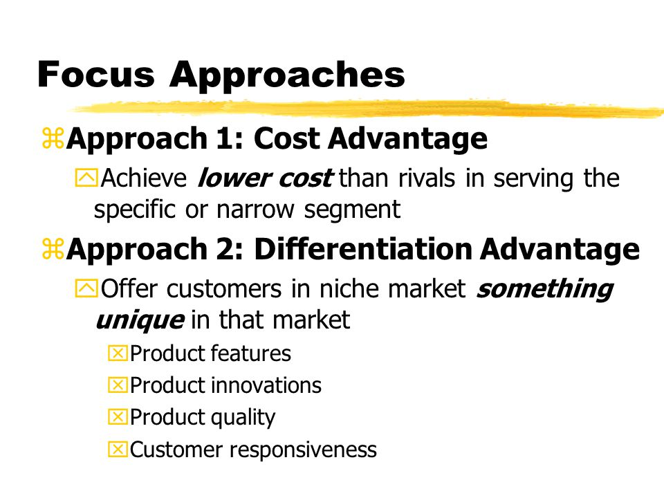 Focus Approaches Approach 1: Cost Advantage
