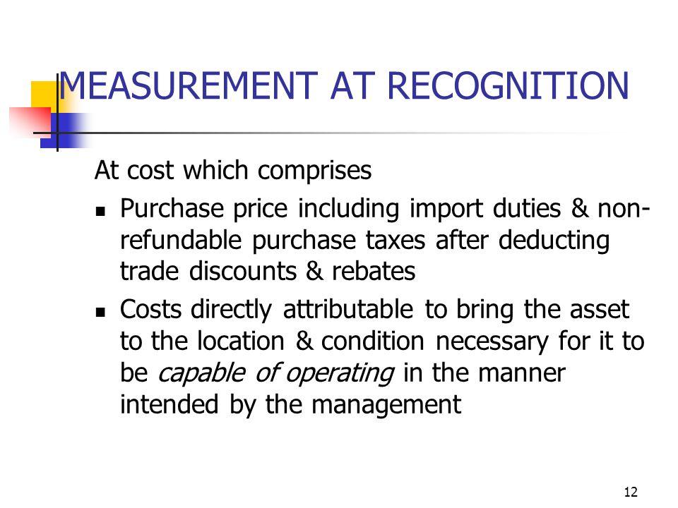 MEASUREMENT AT RECOGNITION