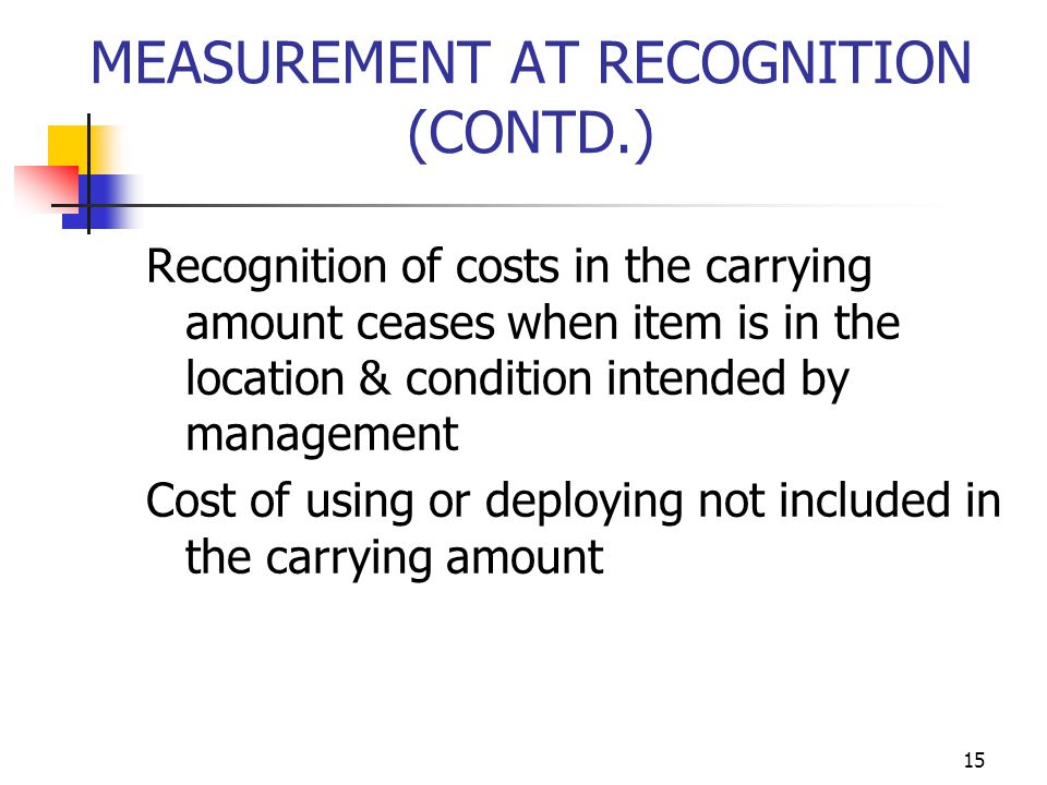 MEASUREMENT AT RECOGNITION (CONTD.)