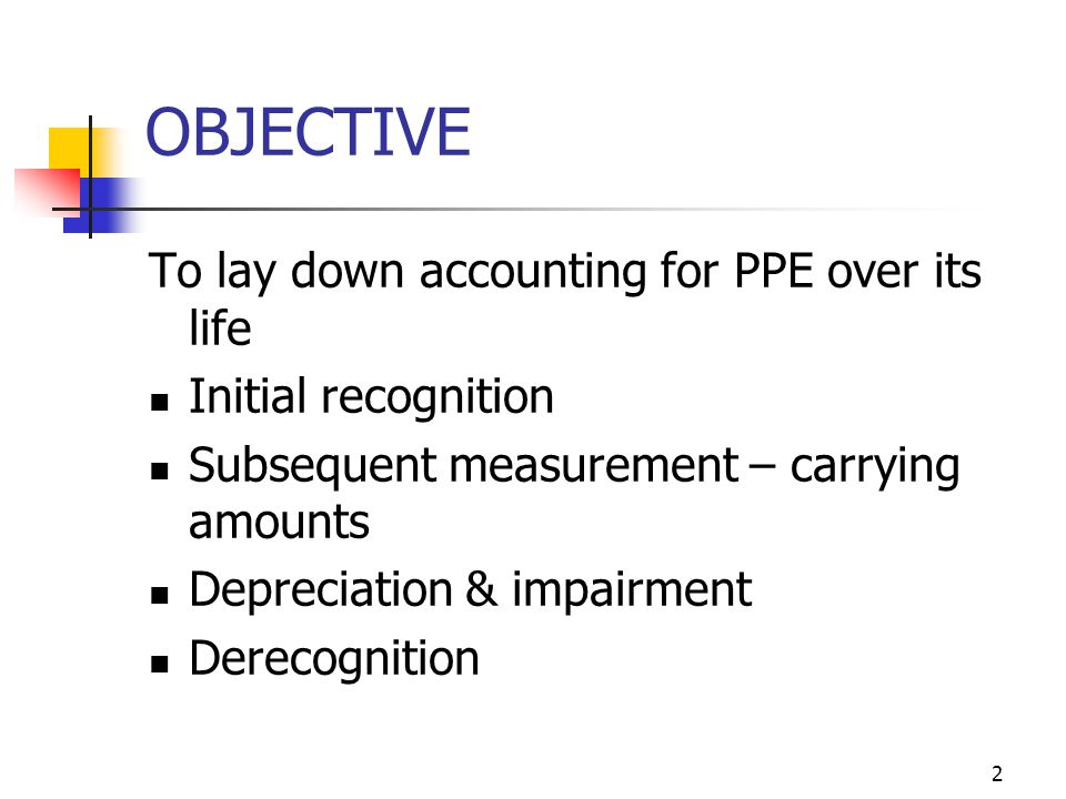 OBJECTIVE To lay down accounting for PPE over its life