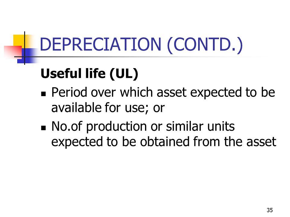 DEPRECIATION (CONTD.) Useful life (UL)