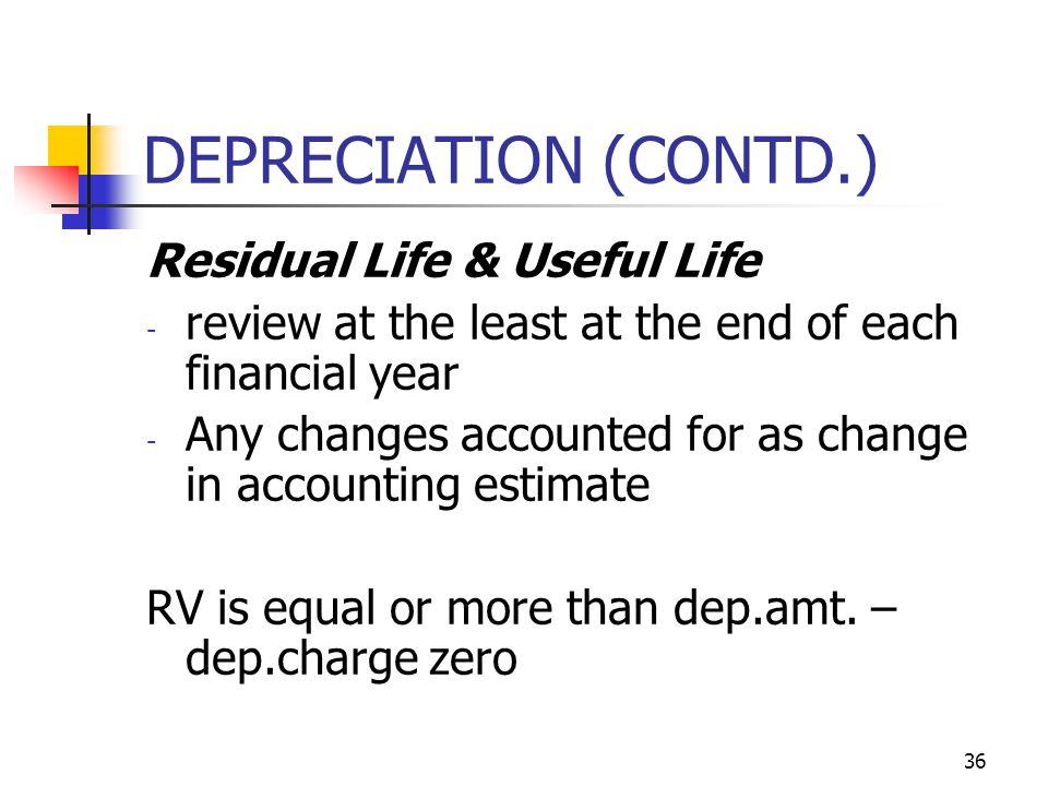 DEPRECIATION (CONTD.) Residual Life & Useful Life