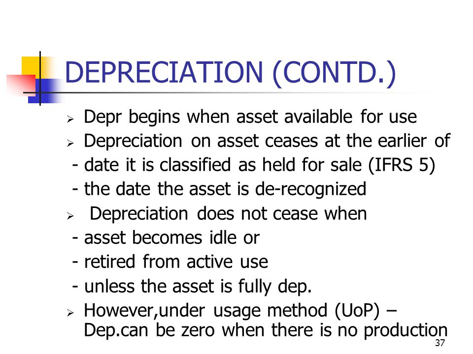 DEPRECIATION (CONTD.) Depr begins when asset available for use