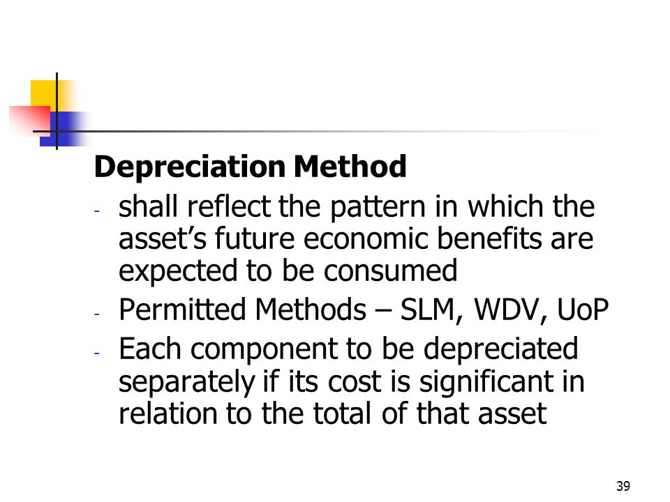 Depreciation Method shall reflect the pattern in which the asset's future economic benefits are expected to be consumed.