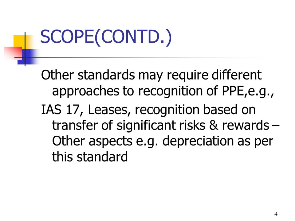 SCOPE(CONTD.) Other standards may require different approaches to recognition of PPE,e.g.,