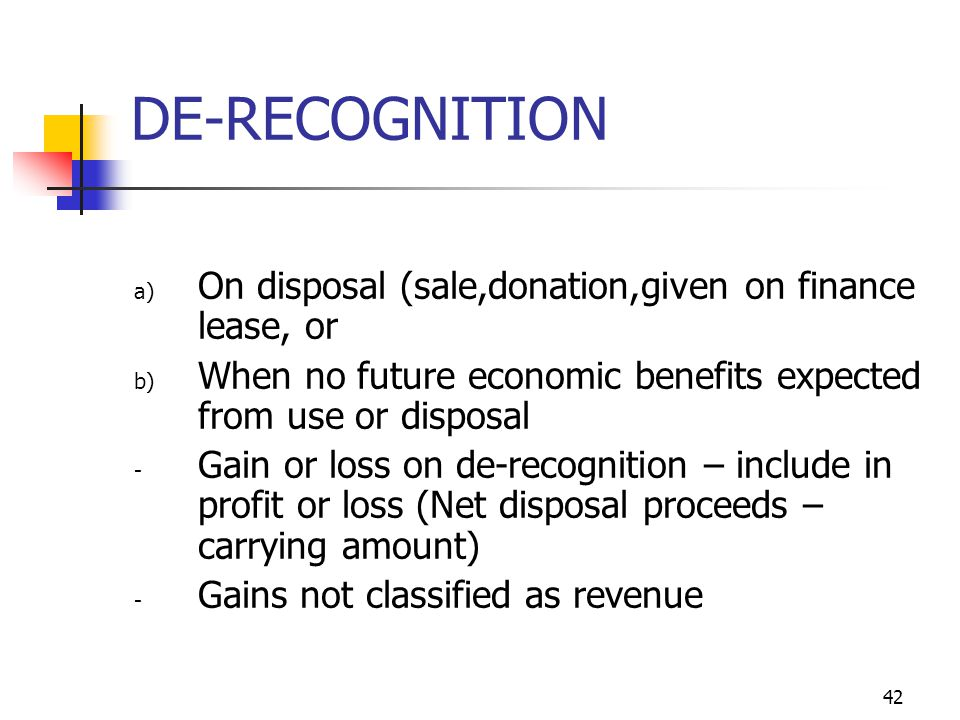 DE-RECOGNITION On disposal (sale,donation,given on finance lease, or