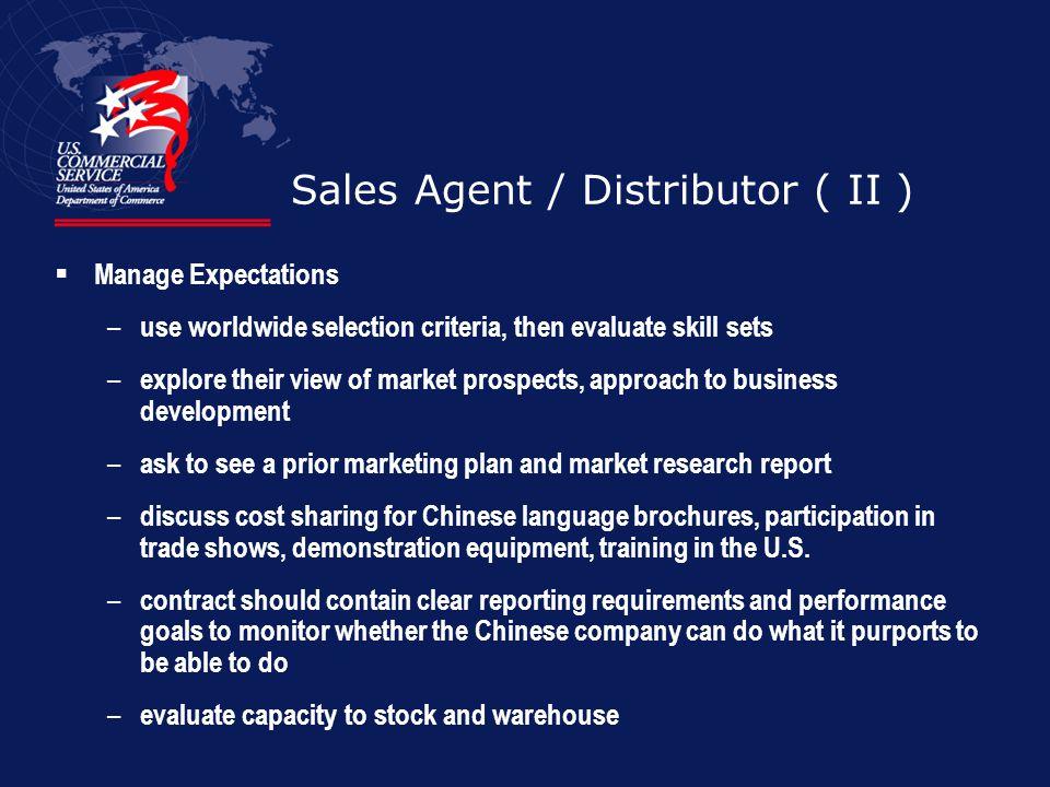 Sales Agent / Distributor ( II )