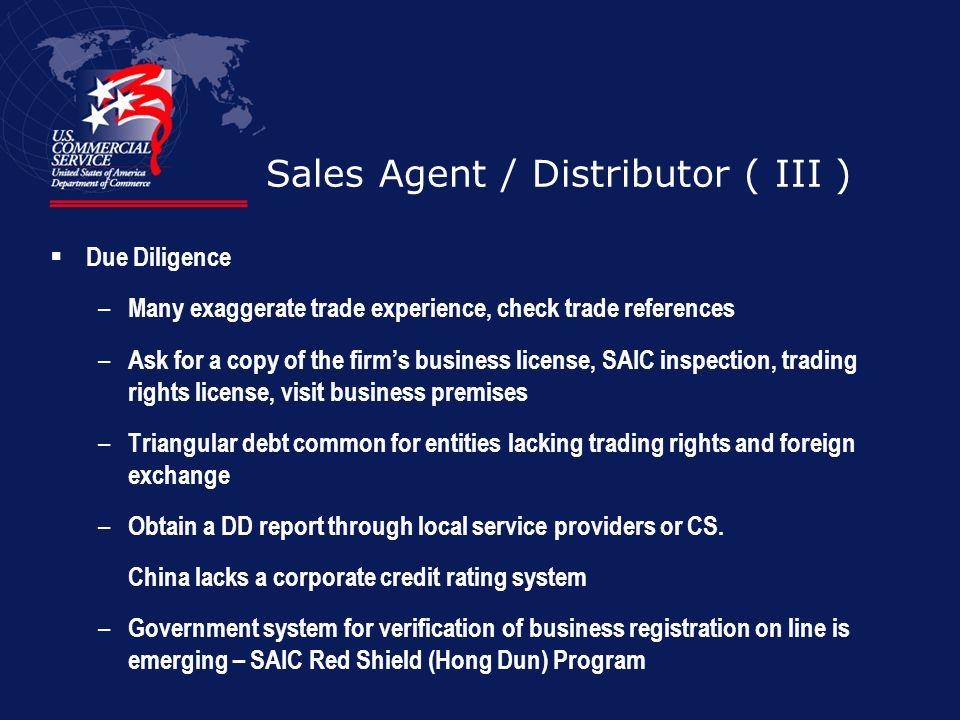 Sales Agent / Distributor ( III )
