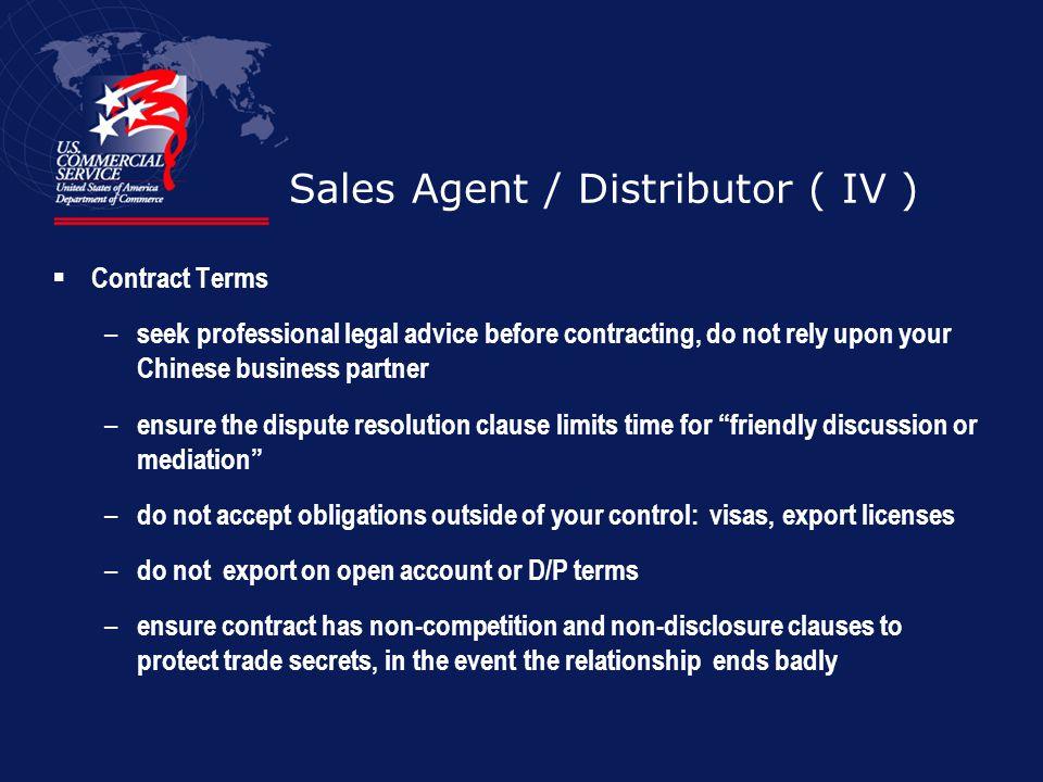 Sales Agent / Distributor ( IV )