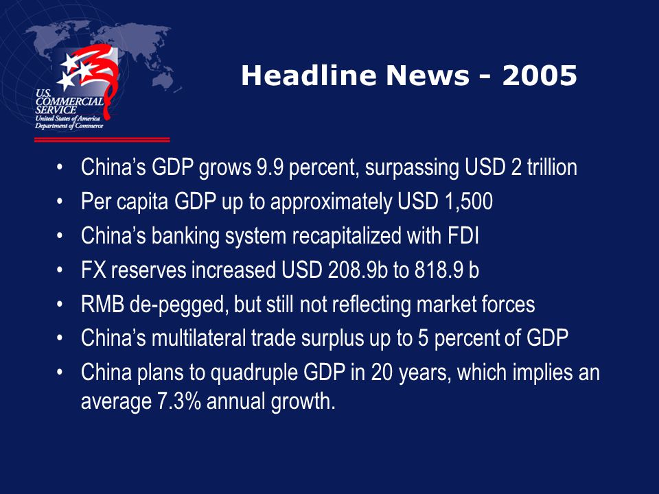 Headline News - 2005 China's GDP grows 9.9 percent, surpassing USD 2 trillion. Per capita GDP up to approximately USD 1,500.