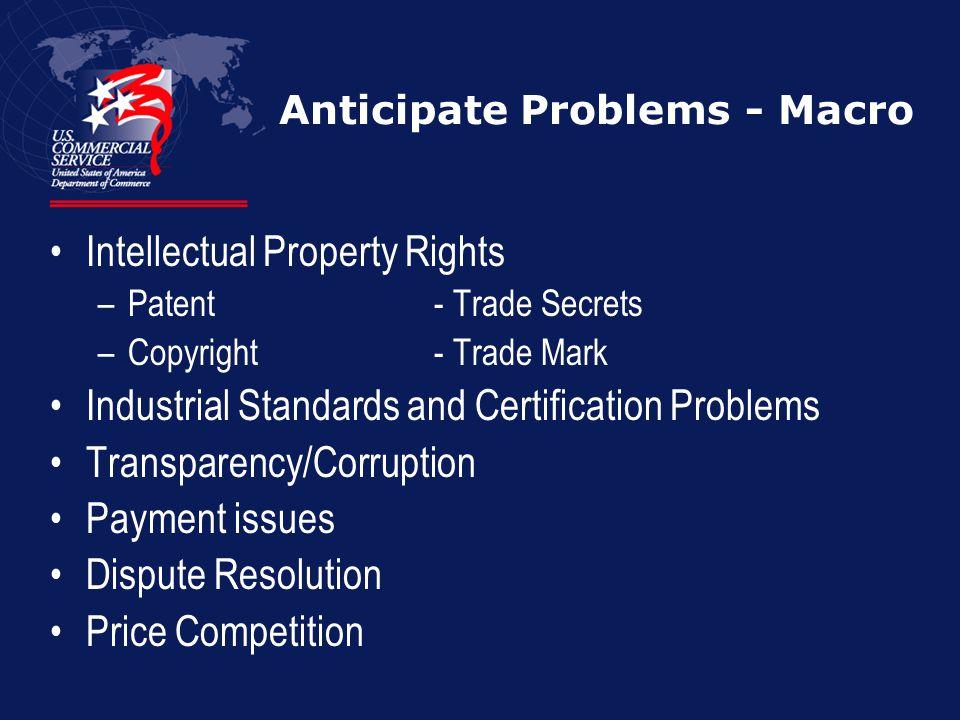 Anticipate Problems - Macro