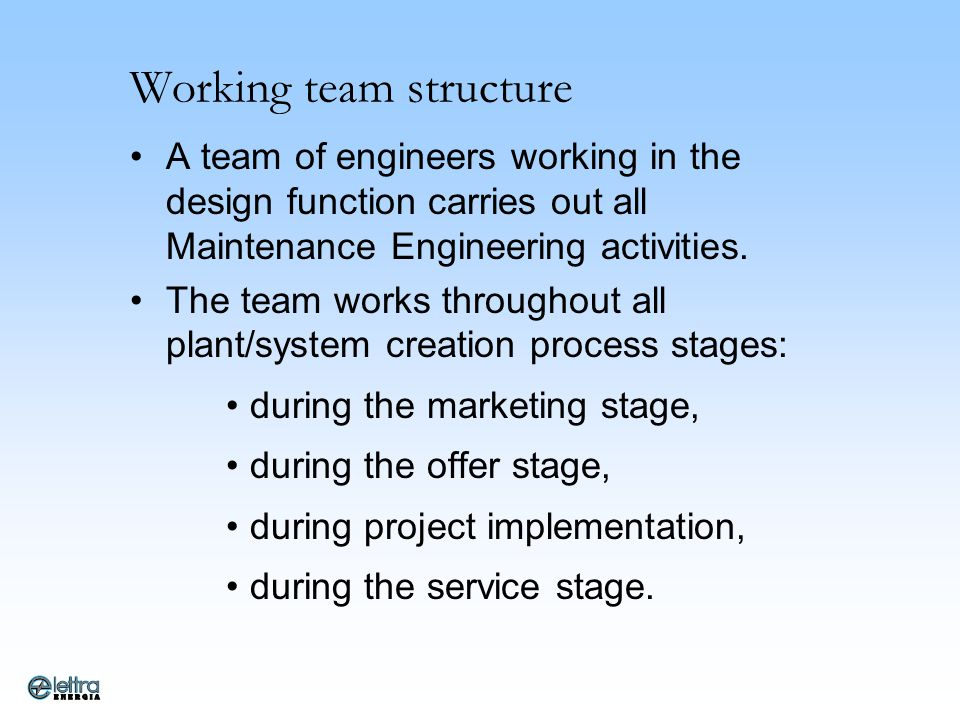Working team structure