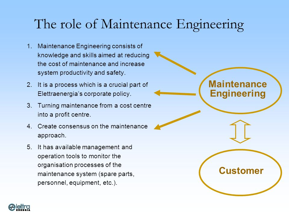 The role of Maintenance Engineering
