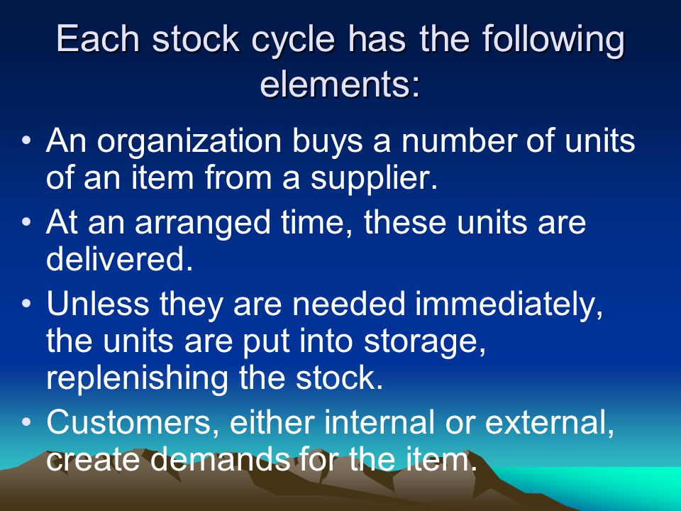 Each stock cycle has the following elements:
