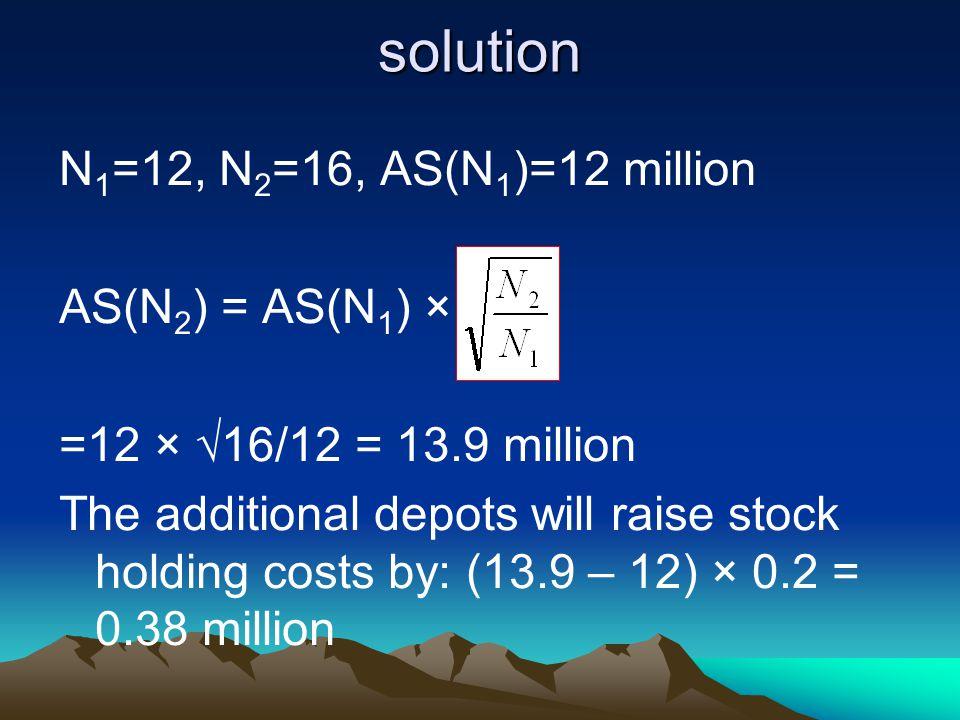 solution N1=12, N2=16, AS(N1)=12 million AS(N2) = AS(N1) ×