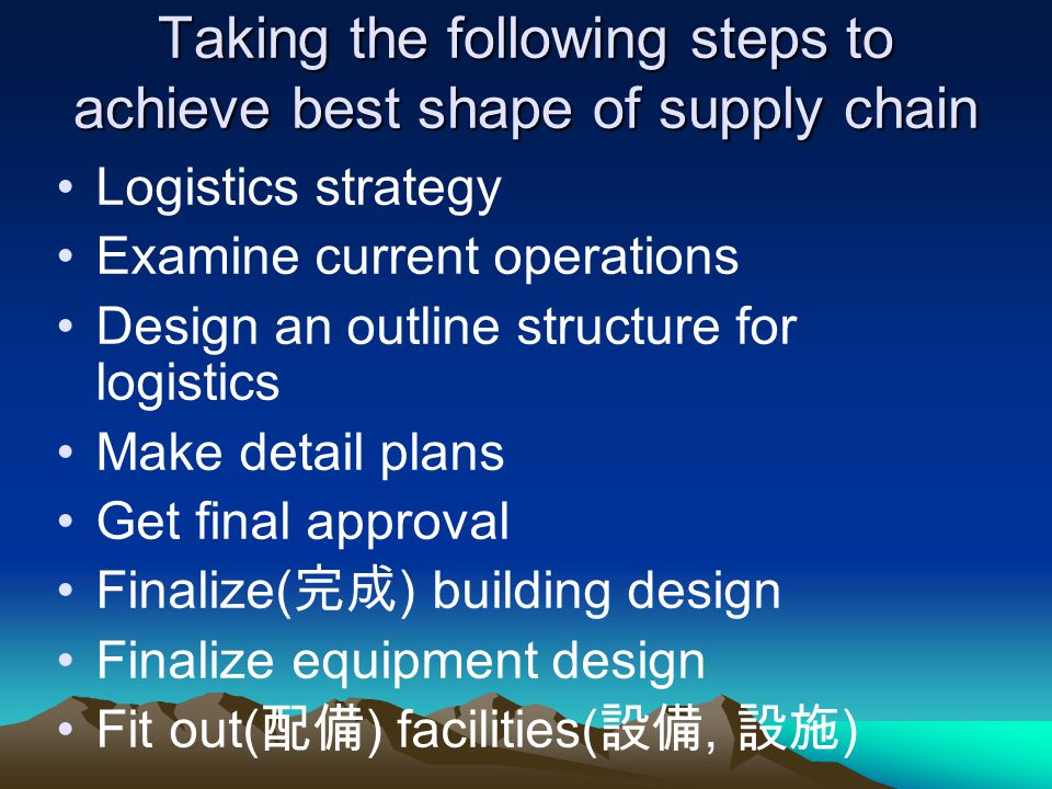 Taking the following steps to achieve best shape of supply chain