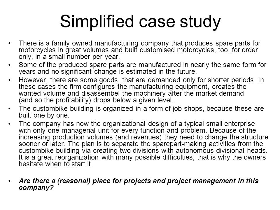 Simplified case study