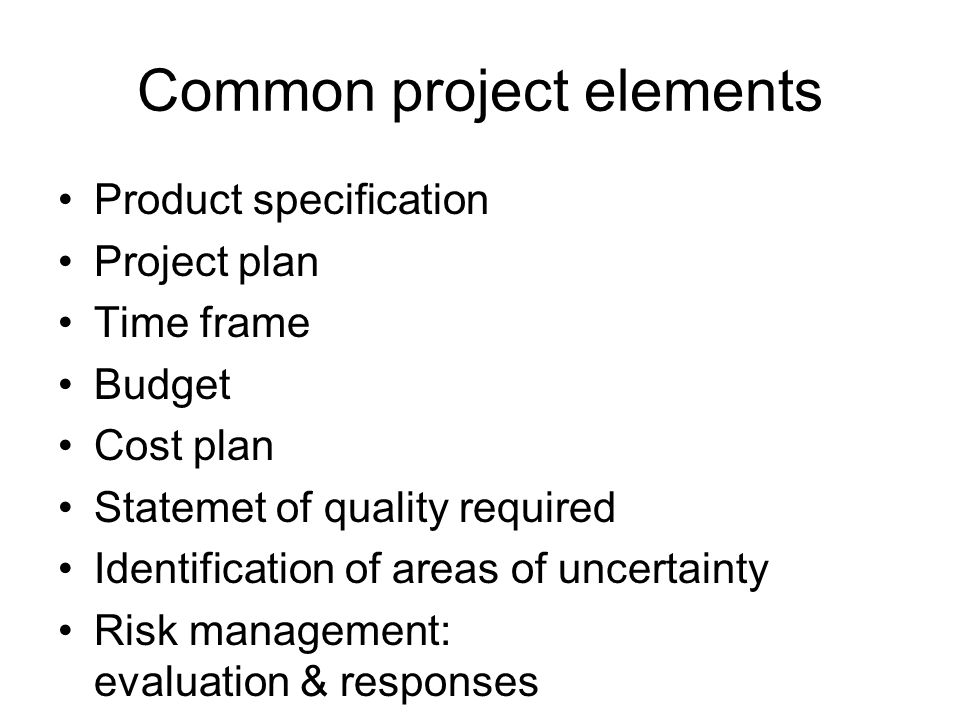 Common project elements