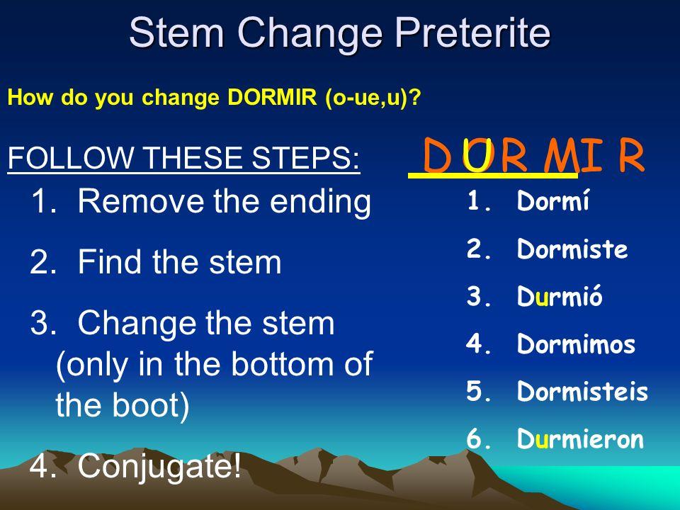 D U O R M I R Stem Change Preterite Remove the ending Find the stem