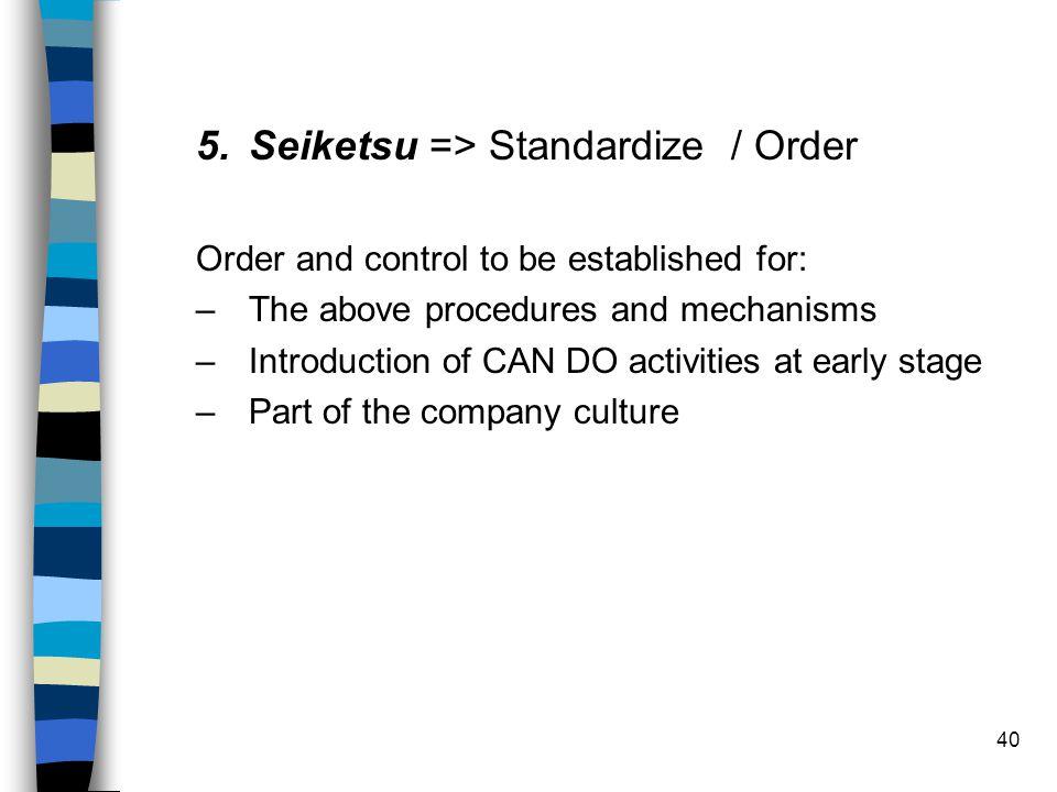 Seiketsu => Standardize / Order
