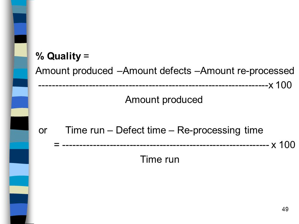 or Time run – Defect time – Re-processing time