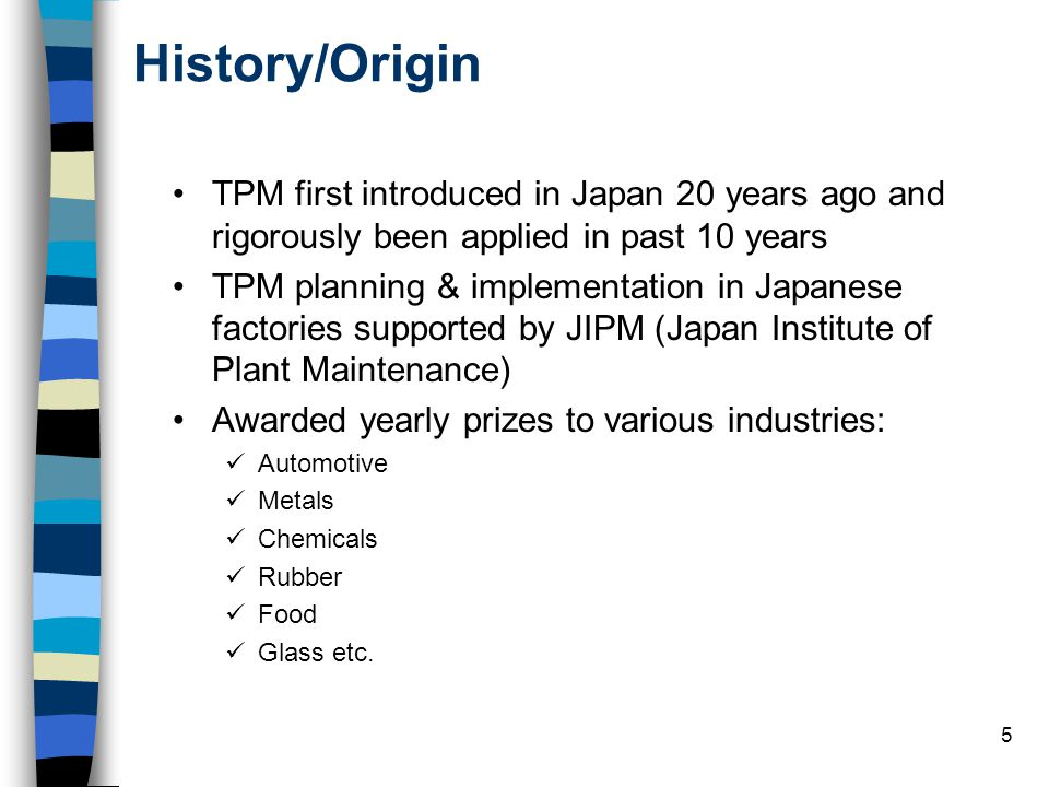 History/Origin TPM first introduced in Japan 20 years ago and rigorously been applied in past 10 years.