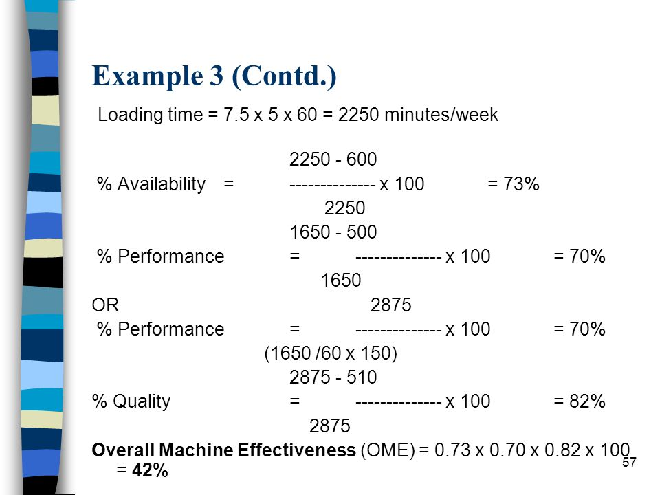 Example 3 (Contd.) Loading time = 7.5 x 5 x 60 = 2250 minutes/week