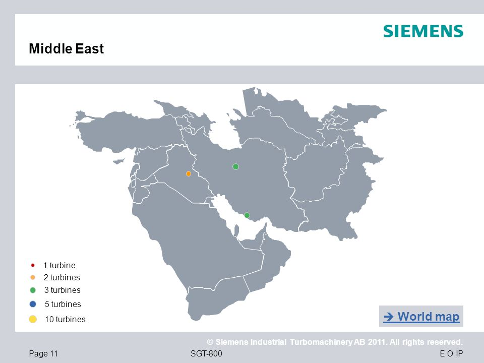 Middle East  World map 1 turbine 2 turbines 3 turbines 5 turbines