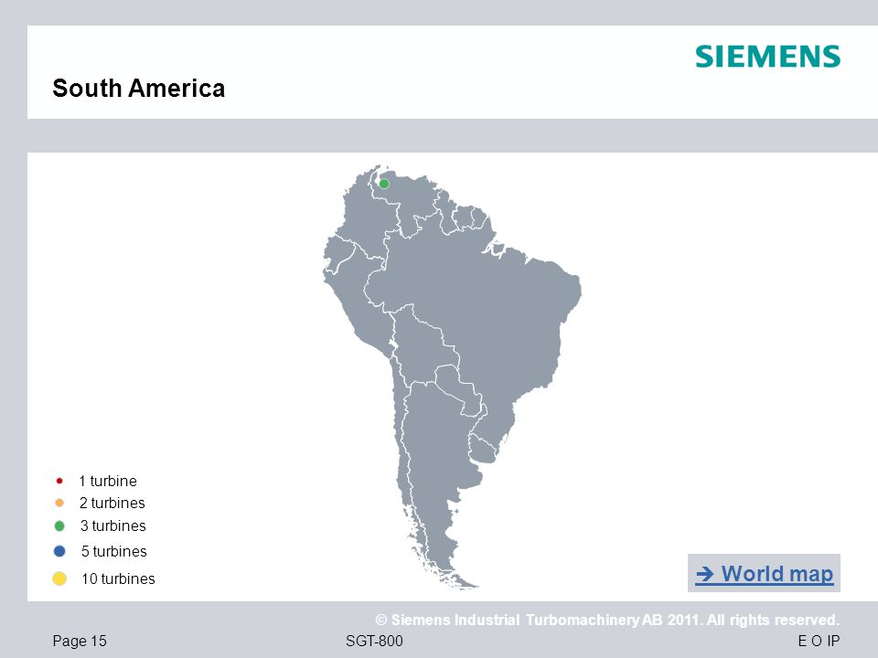 South America  World map 1 turbine 2 turbines 3 turbines 5 turbines