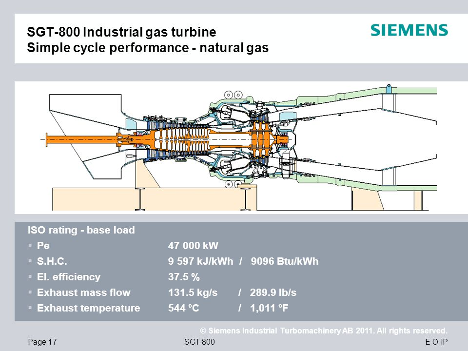 SGT-800 Industrial gas turbine Simple cycle performance - natural gas