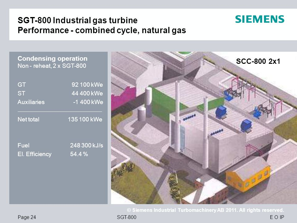 SGT-800 Industrial gas turbine Performance - combined cycle, natural gas