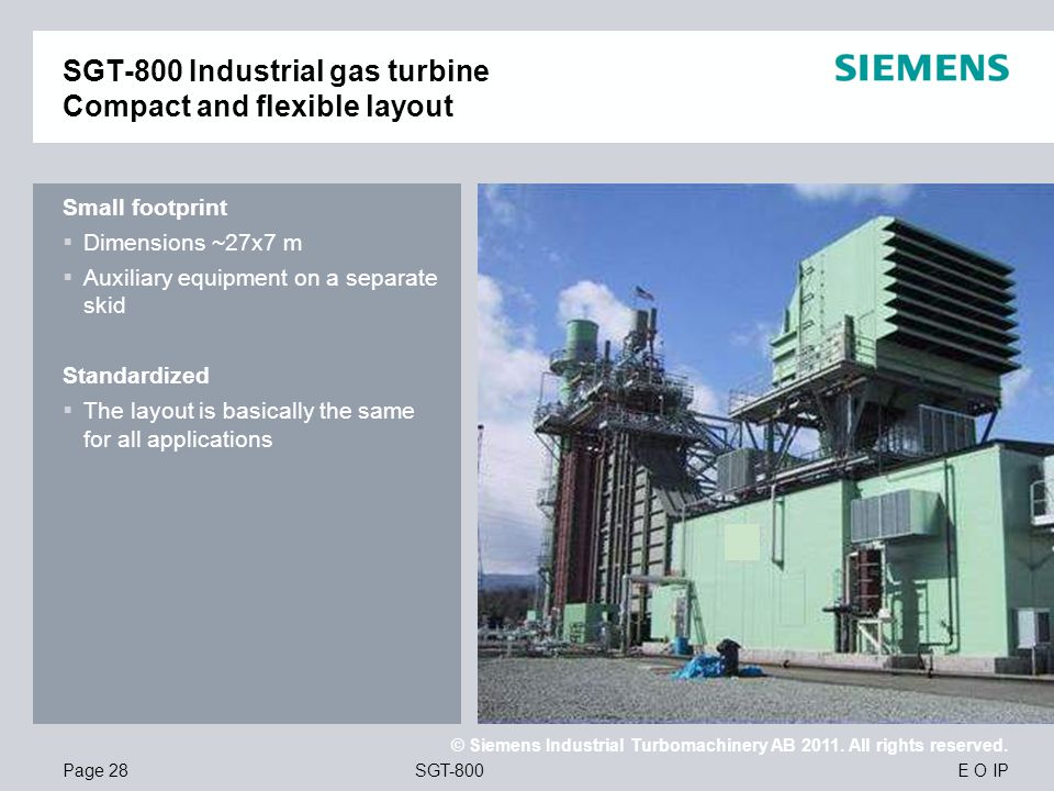 SGT-800 Industrial gas turbine Compact and flexible layout