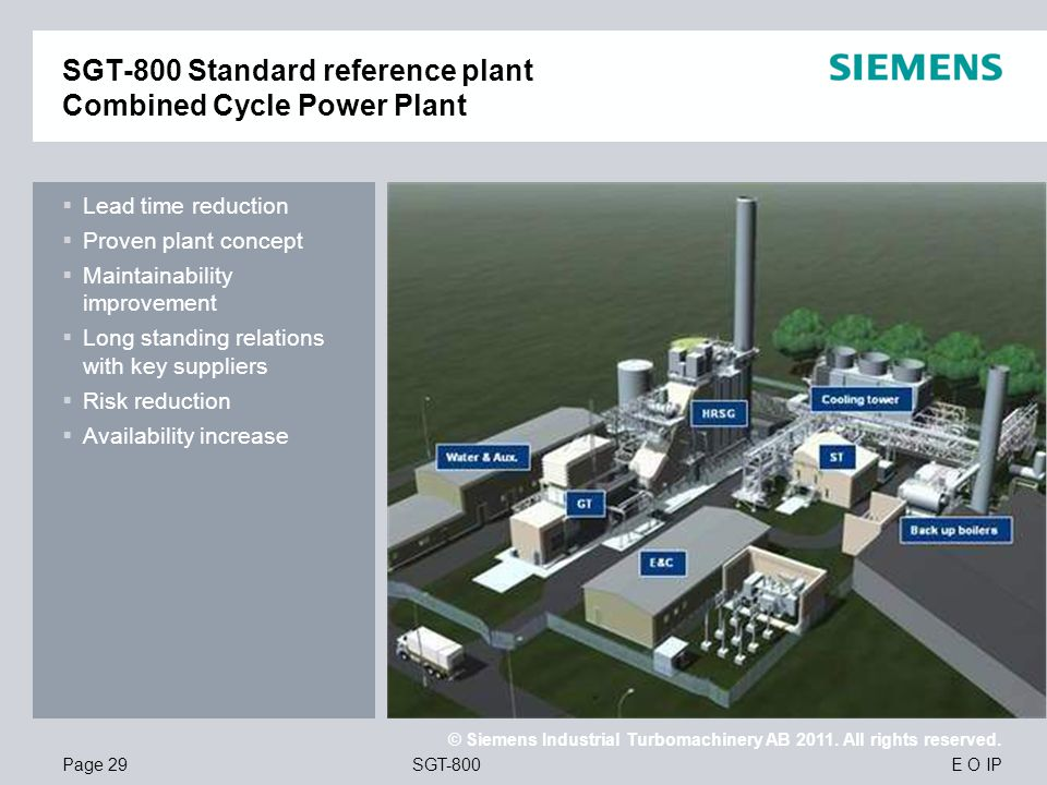 SGT-800 Standard reference plant Combined Cycle Power Plant