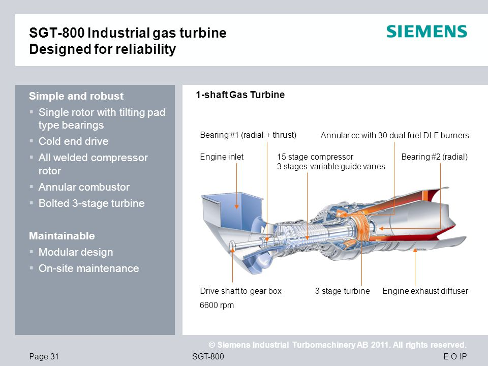 SGT-800 Industrial gas turbine Designed for reliability