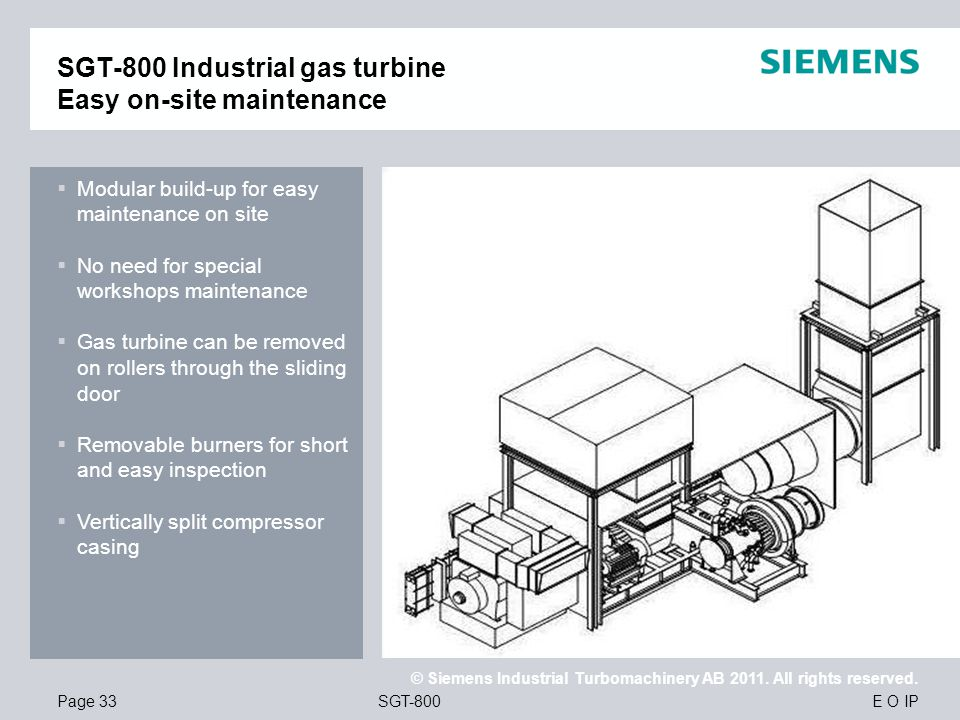 SGT-800 Industrial gas turbine Easy on-site maintenance