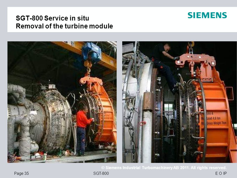 SGT-800 Service in situ Removal of the turbine module