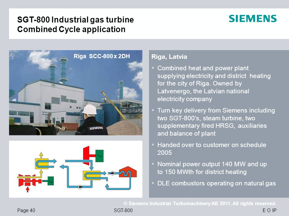 SGT-800 Industrial gas turbine Combined Cycle application
