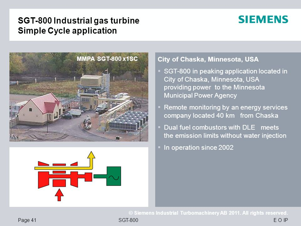SGT-800 Industrial gas turbine Simple Cycle application