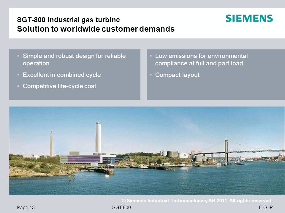 SGT-800 Industrial gas turbine Solution to worldwide customer demands