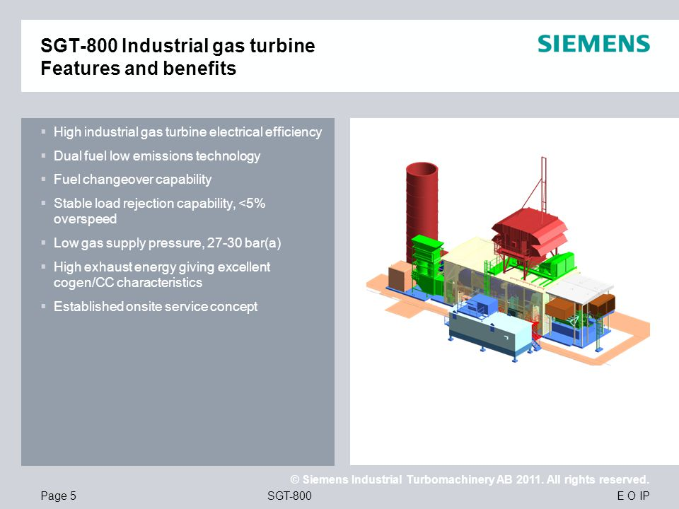 SGT-800 Industrial gas turbine Features and benefits