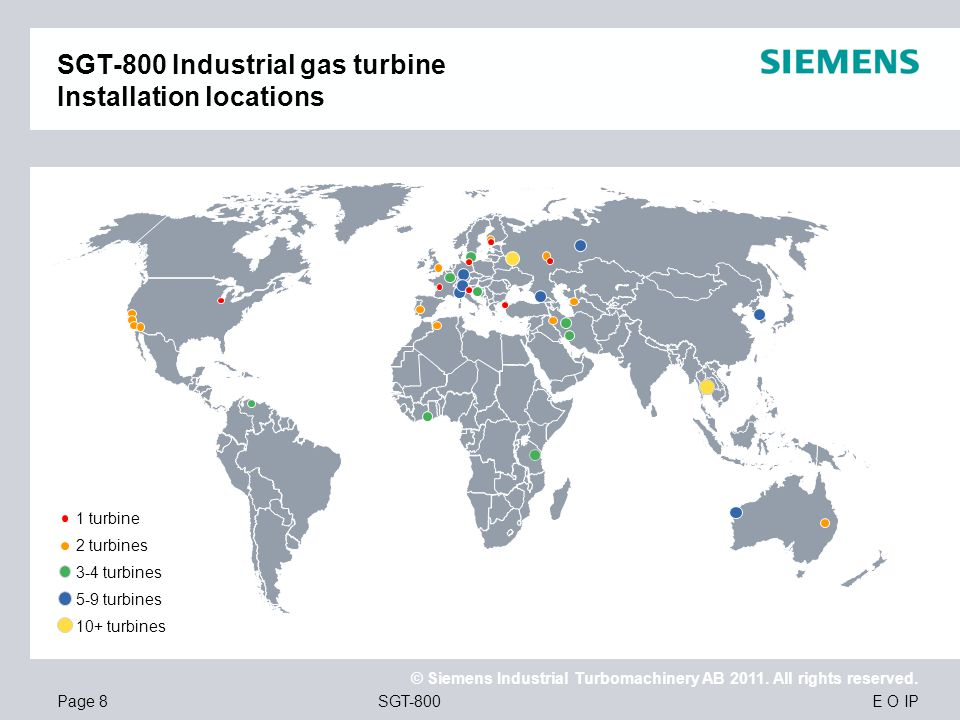 SGT-800 Industrial gas turbine Installation locations