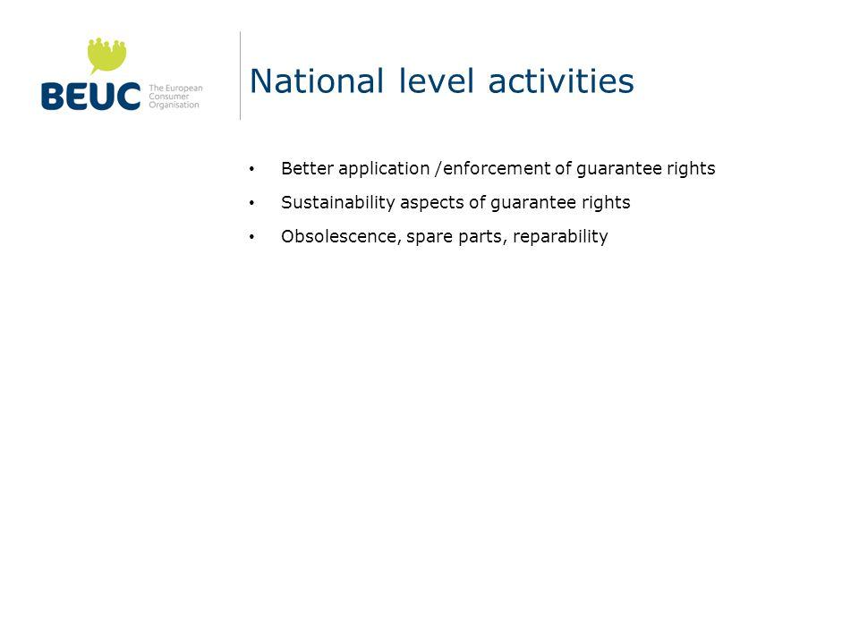 National level activities