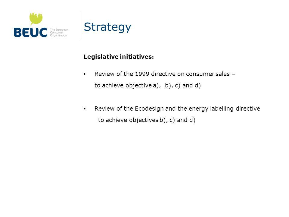 Strategy Legislative initiatives:
