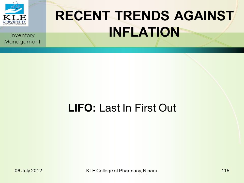 RECENT TRENDS AGAINST INFLATION