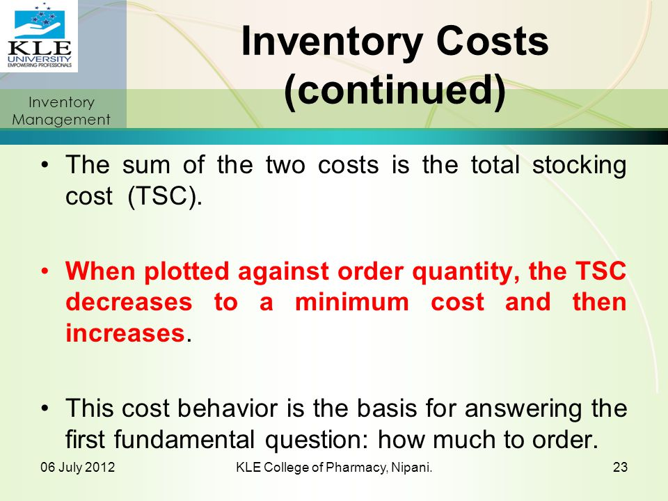 Inventory Costs (continued)